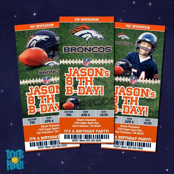 Denver Broncos Tickets Birthday Invitation Card By