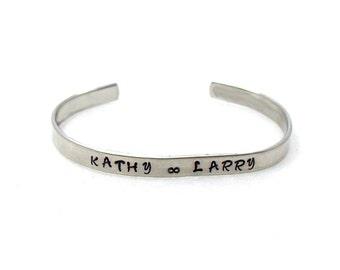 Infinity Name Cuff, Custom Bracelet Cuff, Personalized Bracelet, Custom Cuff, Hand Stamped Cuff, Best Friends Cuff, Mother Daughter Cuff