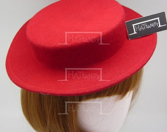 TRENDY Fashion Plain Wool Felt Mini Boater Hat Fascinator DIY - Red