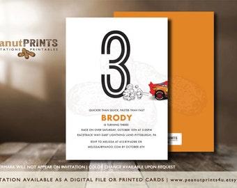 Cars Birthday Party Invitation - Printed OR Digital File - by peanutPRINTS