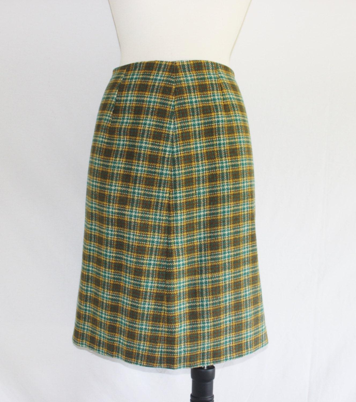 vintage blue teal yellow plaid skirt by retrobellevintage