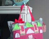 Castle Tooth Fairy Pillow, Princess Pillow, Girl Nursery Decor, Girl Decor, Birthday Gift, Travel Pillow, Felt Pillow, FAIRY HOUSE, CASTLE