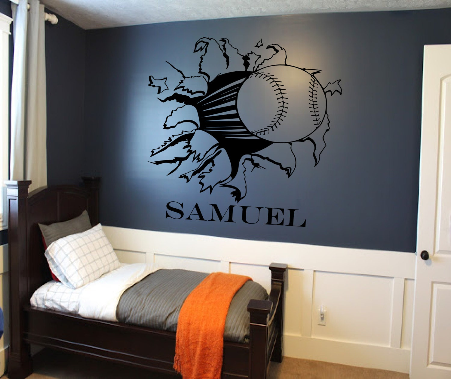 Boys soccer bedroom ideas - Boys Room Decorating Ideas Football Home Inspirations Soccer Custom Baseball Or Softball Bursting Through Wallsportsvinyl