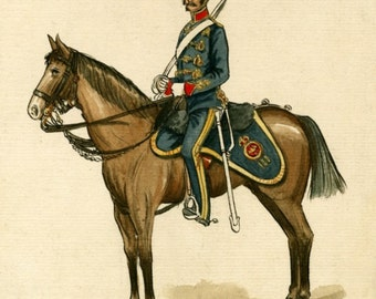 A Soldier of the 3rd Kings Own Light Dragoons 1858 Watercolor Reproduction Print