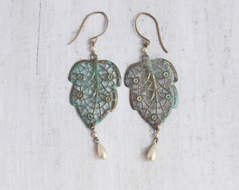 Lacy Patina Leaf Earrings - vintage brass with verdigris and pearl drops - lightweight leaves