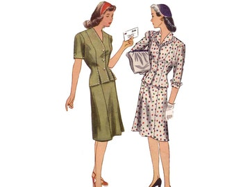 40s Skirt Suit pattern Tailored Two Piece Suit vintage 34-28-37 skirt pattern blouse pattern Hourglass peplum simplicity 4982
