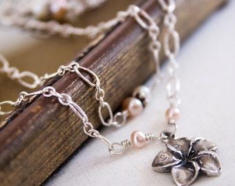 Freshwater Pearls Sterling Silver Flower Pendant Necklace,Wedding, Bridal, Dainty, Flower Girl, Easter