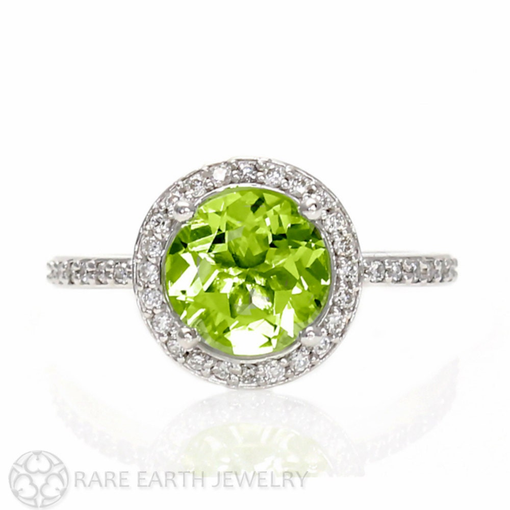 peridot ring diamond halo peridot engagement ring 14k by. Black Bedroom Furniture Sets. Home Design Ideas
