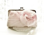 Light Dusty Pink Chiffon Rose Clutch - Size Large - MADE TO ORDER