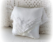 Ring Bearer Pillow White Lace Pllow made from Layered Antique Handkerchiefs  Wedding Gift Lace Pillow