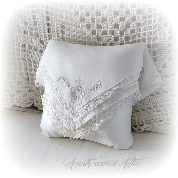 Ring Bearer Pillow White Lace Pllow made from Layered Antique
