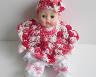 Baby Doll Clothes, Doll Poncho and Hat, Crochet Doll Clothes, Red, White and Pink Doll Poncho and Hat, Fits Huggums and 12 inch Dolls