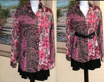 Vintage Floral Shirt - Pink Flowers Blouse - Yoke Pockets Long Sleeves - Ignite