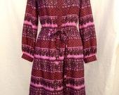 1970s Burgundy & Pink Boho Print Silk Dress // Hand Blocked Batik