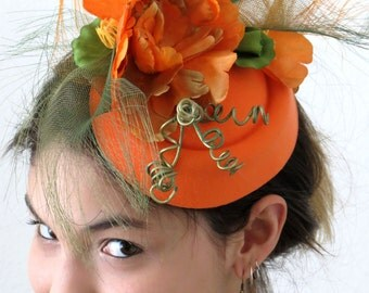 Orange Fascinator - Olive Green Golden Fascinator Hat LILA ORANGE PEEL