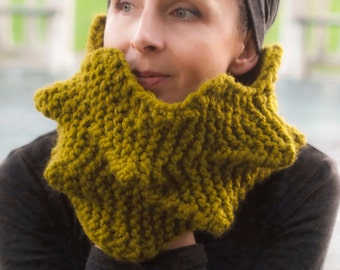 Cactus Cowl Hand-Knit 3D Spiky Texture Snood Knitted Chunky Unisex Neckwarmer Neck Cuff Tube Scarf in lemongrass or Choose Your Color