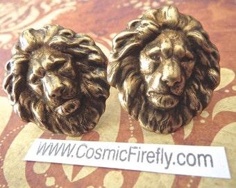 Large Brass Lion Cufflinks Men's Cufflinks Vintage Inspired Leo Cufflinks Gothic Victorian Safari Animal New Statement Cufflinks Leo Gifts