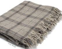 SALE. Linen Blanket Throw / Bedspread - Grey Plaid Picnic Blanket - Linen Beach Blanket - Bohemian Throw Blanket. Boho Gift ideas for home