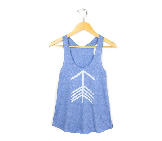 Tribal Arrow Tank - Racerback Scoop Neck Swing Tank Top in Heather Blue and White - Women's Size XS-3XL Q