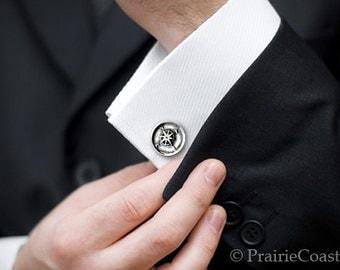 Compass Cufflinks -  Sterling Silver Nautical CuffLinks - Men's Wax Seal Cuff Links -  Wedding Cuff Links Compass Cufflink