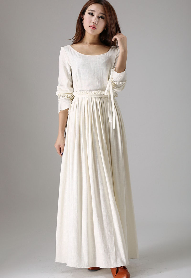 White Maxi Dress Bridesmaid Dress Long Sleeve Dress Linen