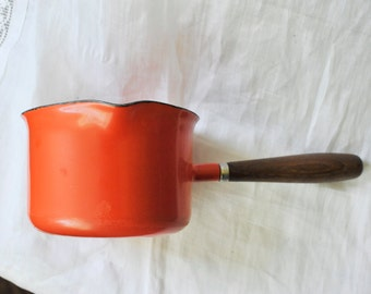 Orange Cathrineholm Saucepan, Butter Melter, The Galloping Gourmet, Graham Kerr, Orange Enamelware, Mid Century Enamelware