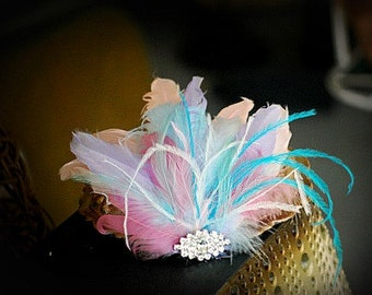 Bride Pastel Feathers Head Piece Fascinator Hair Clip / Head Comb. Etsy Handmade Wedding Statement, Bridal Shower Gift, Spring Bride Couture