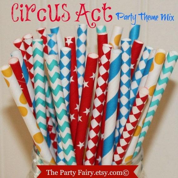 Paper Straws, 25 Carnival Circus Party Paper Straws, Carnival Birthday Party, Fun Paper Straws, Retro Paper Straws, Mason Jar Straws, Kids
