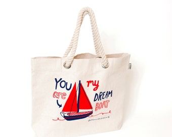 SAVE 50% You Are My Dreamboat Fairtrade Beach Bag - Fair Trade Tote - Screen Printed Shopper