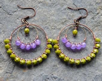 Chandelier earrings, gypsy earrings, colorblock jewelry, wire wrapped, beaded hoops,olive green, purple, colorful earrings, bohemian jewelry