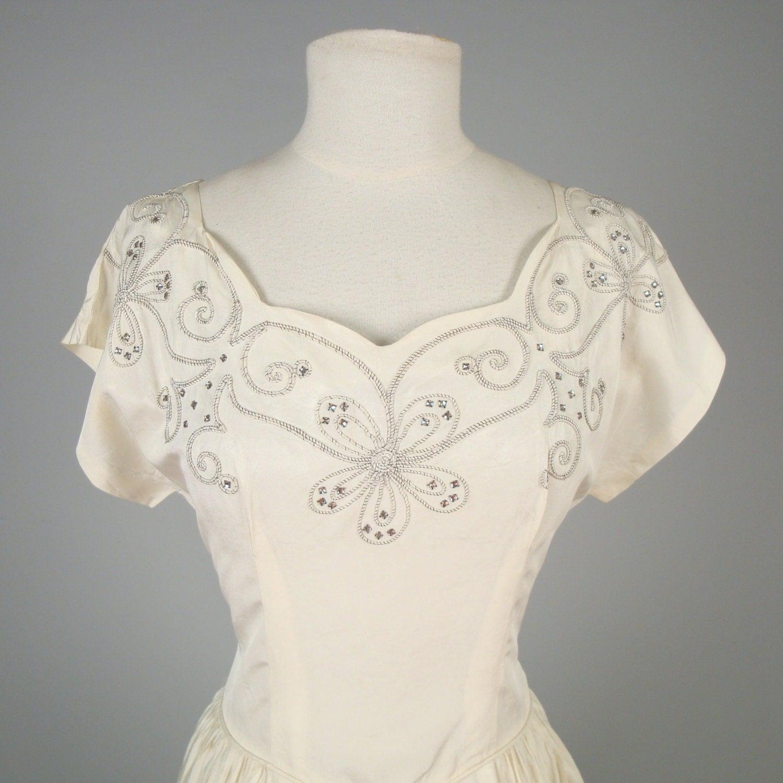 SALE 1940s Silk Taffeta Wedding Gown With By MintageClothingCo