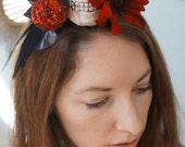 SLEEPING DEATH -- Skull & Red Apple Headband w/ Red Velvet Flower Black Netting and Feathers Halloween Costume Dark Party Goth Wedding