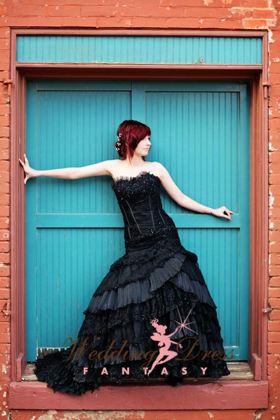 Black wedding dresses with corsets : Sensational corset black wedding dress by weddingdressfantasy