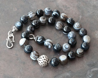 Black Striped Agate Necklace, Chunky Black and White Gemstone Knotted Necklace, Black and Silver Statement Necklace, Natural Agate Jewelry