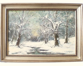 Vintage Original Oil Painting Winter Landscape Painting Signed Fine Art Hungarian Listed Artist