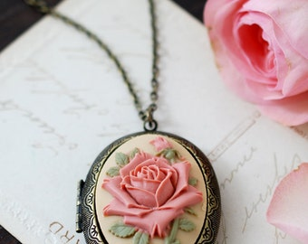 Rose Cameo Locket Necklace, Large Oval Locket Necklace, Vintage Victorian Ivory Dusky Pink Rose Antiqued Brass Photo Locket Mothers Day Gift