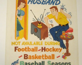 Hand Painted Felt Picture - All American Husband - Sports Fan Gift - 14 x 18 Inch Wall Art