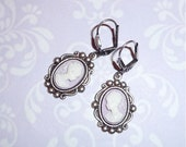 Cameo Earrings - 'VINTAGE CAMEO' in Antique Silver - Ivory White & Lilac - Made with Trinity Brass Earwires - Vintage Inspired