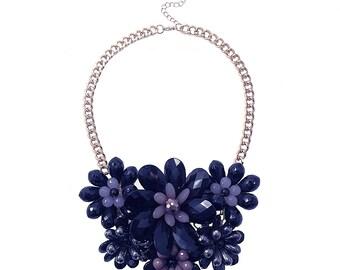 Statement Bib Necklace Black Multi Flower Chic Rococo Necklace New York Boho Chic Spring Summer Style 2016