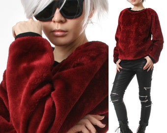 SALE 32.00 RTBU Punk Rock Teddy Sarpei Faux Fur Maroon Red Velvet Furry Sweatshirt Jumper