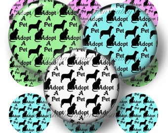 Adopt A Pet Bottle, Cap Images, Digital Collage Sheet, Dog, Cat, 1 Inch Circles, Collage Sheet, Printable Instant Download, Magnets, Crafts