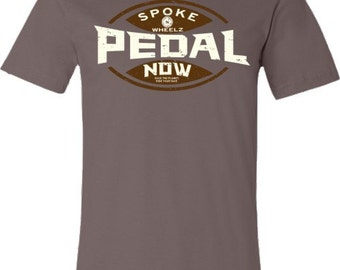 Bicycle T-Shirt-PEDAL NOW-Pebble Brown-Road Bike t-shirt,Mountain Bike T-shirt-Cycling Gift,gifts for cyclists, gift for him,bicycle gift