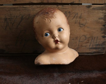 Rare 1930s Vintage Baby Bust // Infant Mannequin Display Head