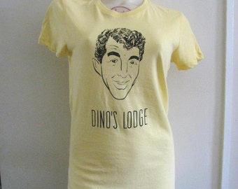 Dino's Lodge tee in bright yellow women's large