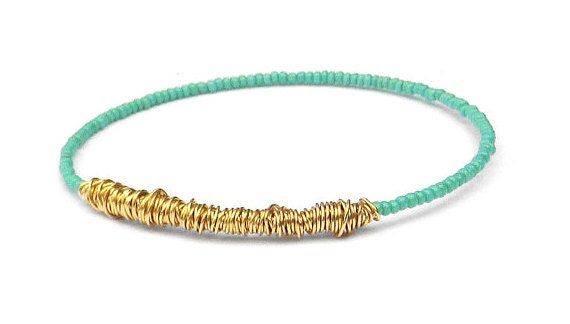 Bangle Bracelet // Turquoise Gold Beaded Bracelet // Eco-Friendly Jewelry // Friendship Bracelet // Bridesmaid Gift // Recycle Jewelry Gift