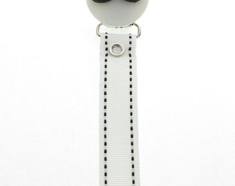 Mustache Pacifier Clip With White Ribbon (RMHMW)