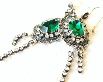Emerald Swarovski Crystal Earrings - More colors - Dangling Swarovski Crystal Chain - Gothic Victorian Jewelry