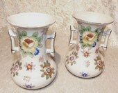 Oriental Floral Motif Vase Pair Gold Castle Unique Side Handles