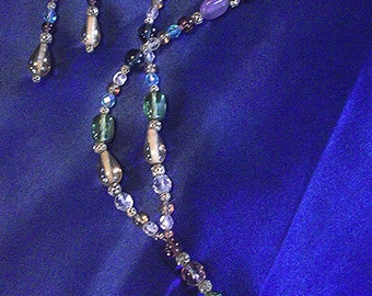 Vintage Crystal Glass Beaded Lariat Necklace and Earring Set