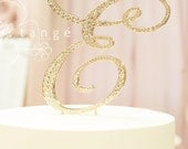 Metal Rhinestone GOLD E Cake Toppers available in Letter A B C D E F G H J K L M N P R S T V W Z cake topper